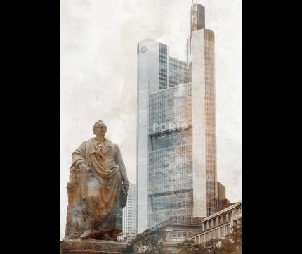 Frankfurt 9 mit Goethe-Denkmal – 80 x 110 cm