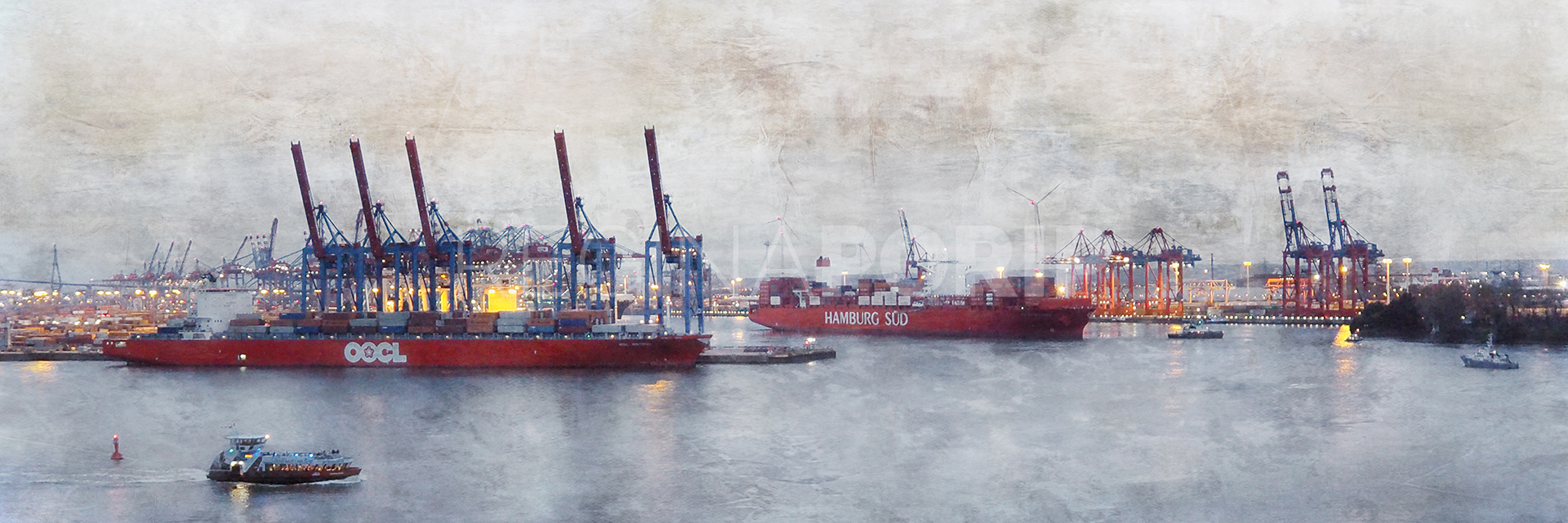 Hafen Hamburg 52  –  90 x 30 cm
