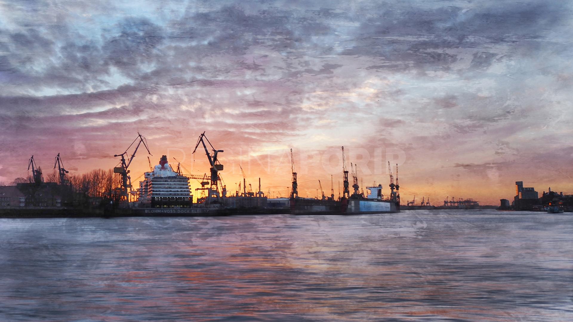 Hamburg Hafen 72  –  100 x 55 cm