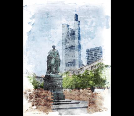 Frankfurt Goethe mit Banken – 40 x 55 cm