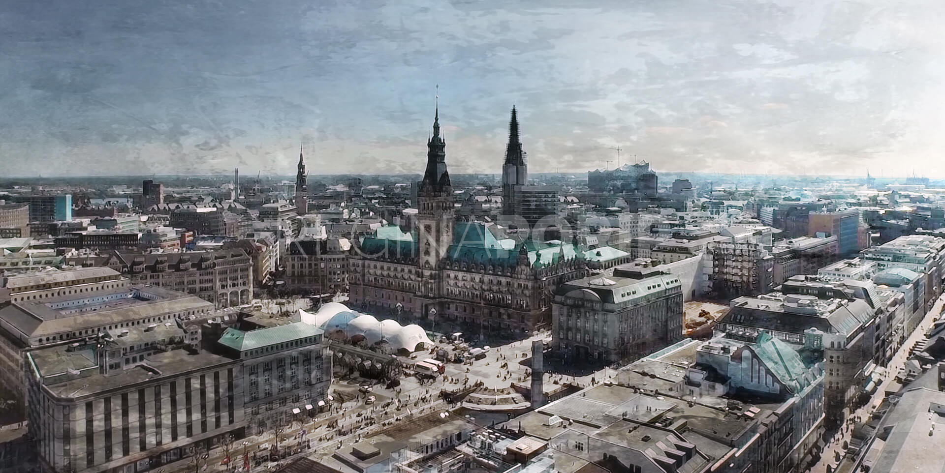 Hamburg Rathaus 1  100 x 50 cm