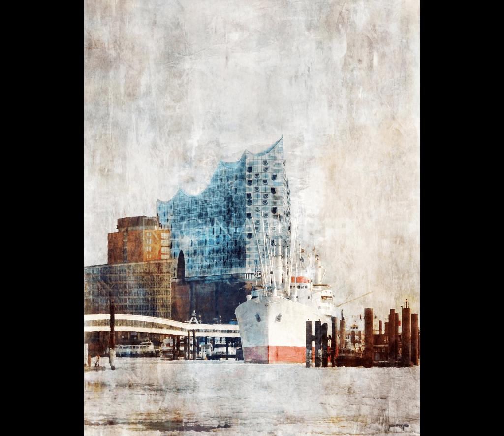 Hamburg Hafen 13 mit fertiger Elbphilharmonie – 100 x 130 cm