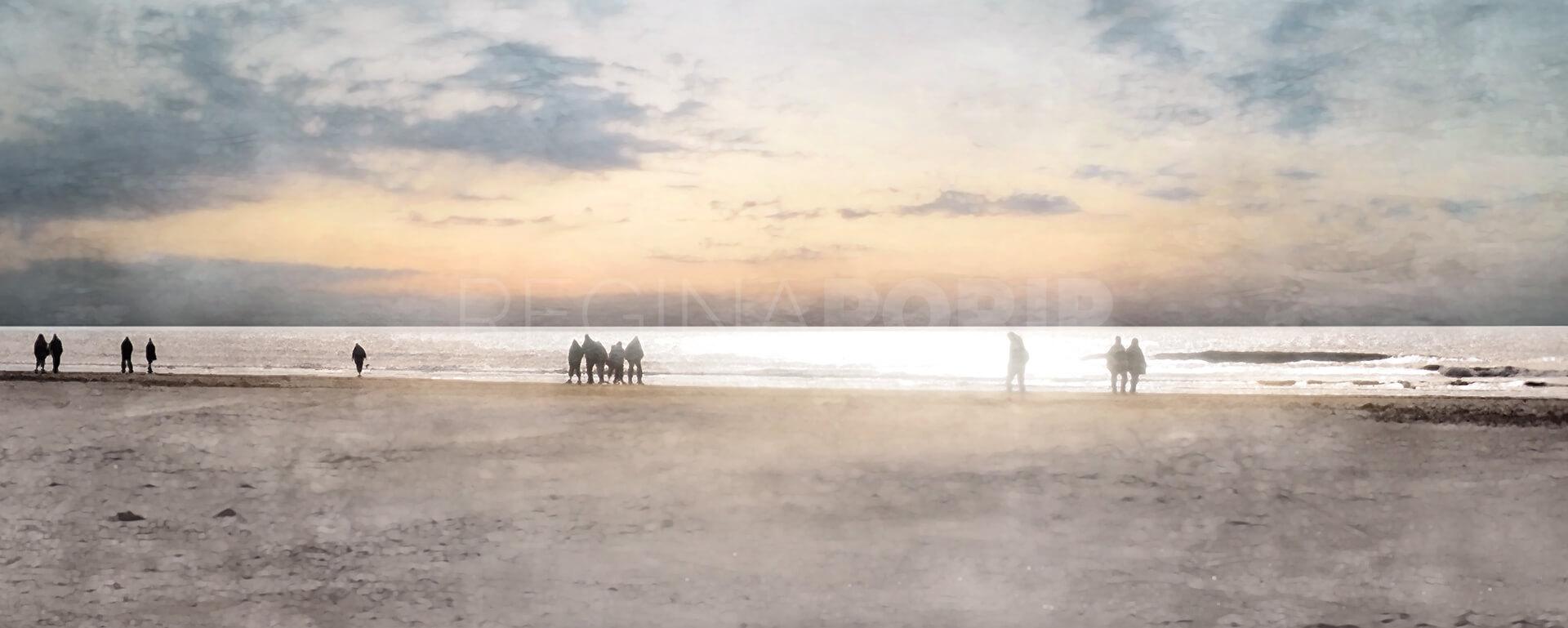 Nordsee mit Sunset 2  –  100 x 40 cm