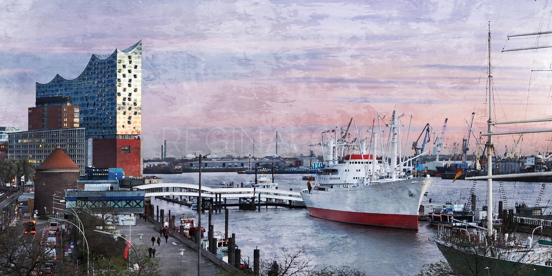 Hafen Hamburg 76  –  100 x 50 cm