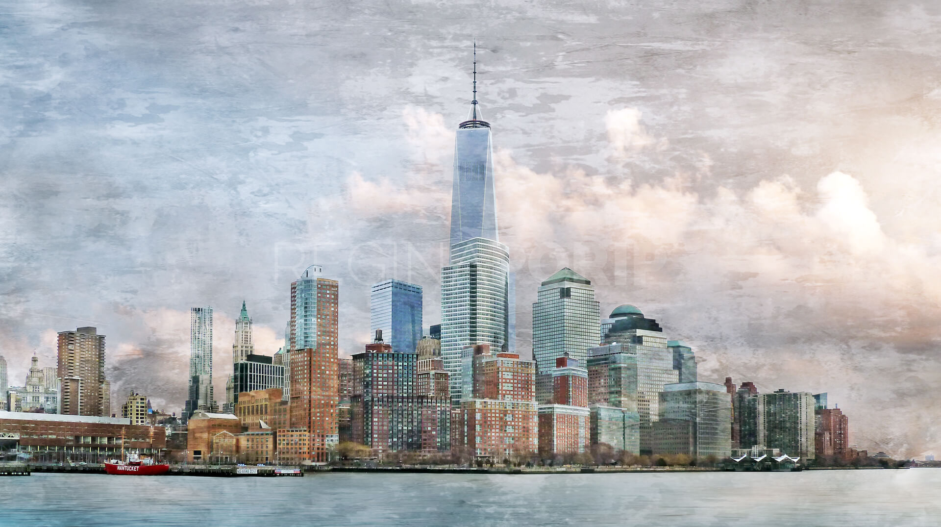 new york city skyline 14 90 x 50 cm kunst fotografie und design aus hamburg von regina porip. Black Bedroom Furniture Sets. Home Design Ideas