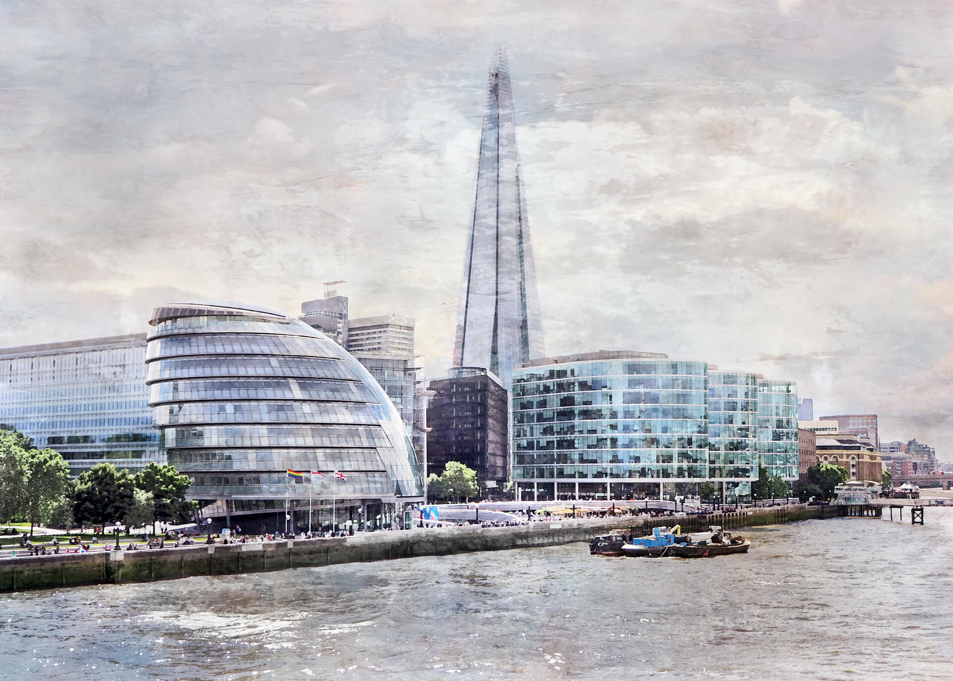 London – City Hall und The Shade  –  80 x 60 cm