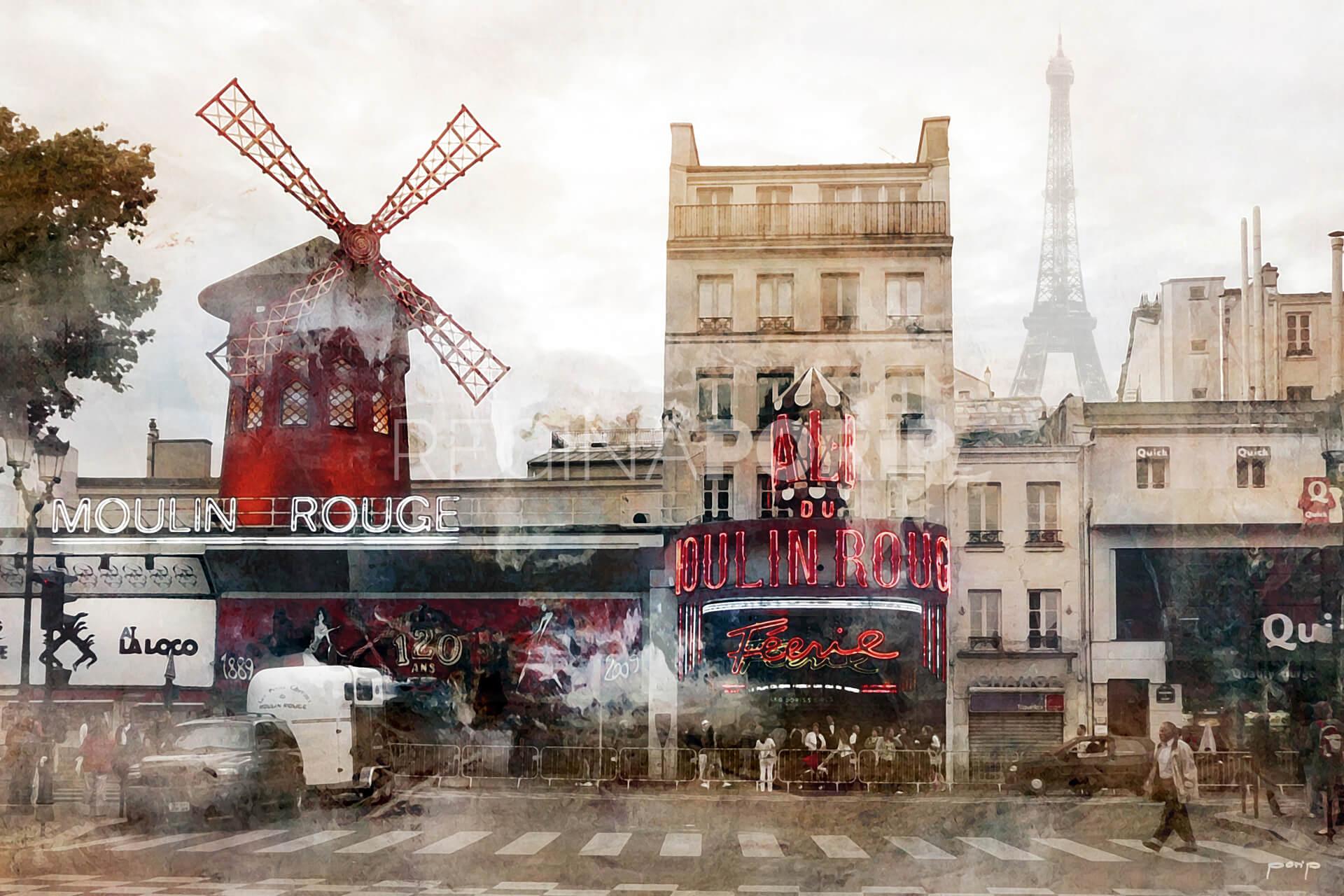 Frankreich Moulin Rouge  –  120 x 80 cm