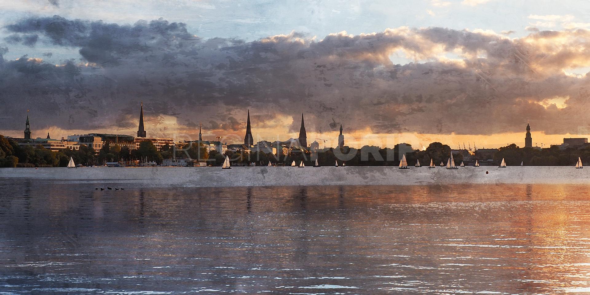 Hamburg Alster 64  –  140 x 70 cm auf Leinwand