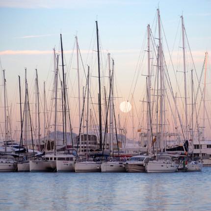 Mallorca Palma bei Vollmond – 70 x 70 cm – hinter Acrylglas