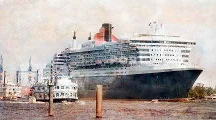 Hamburg Hafen mit Queen Mary – 90 x 50 cm