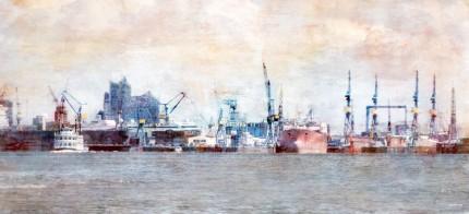 Hamburg Hafen 40 mit Elbphilharmonie – 120 x 55 cm